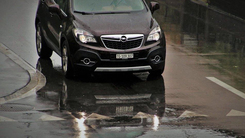 black car on the rain
