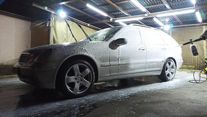 pre washing car with a snow foam