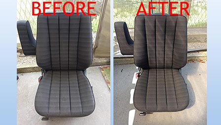 how to clean dirty cloth car seats, before and after comparison, car detailing planet